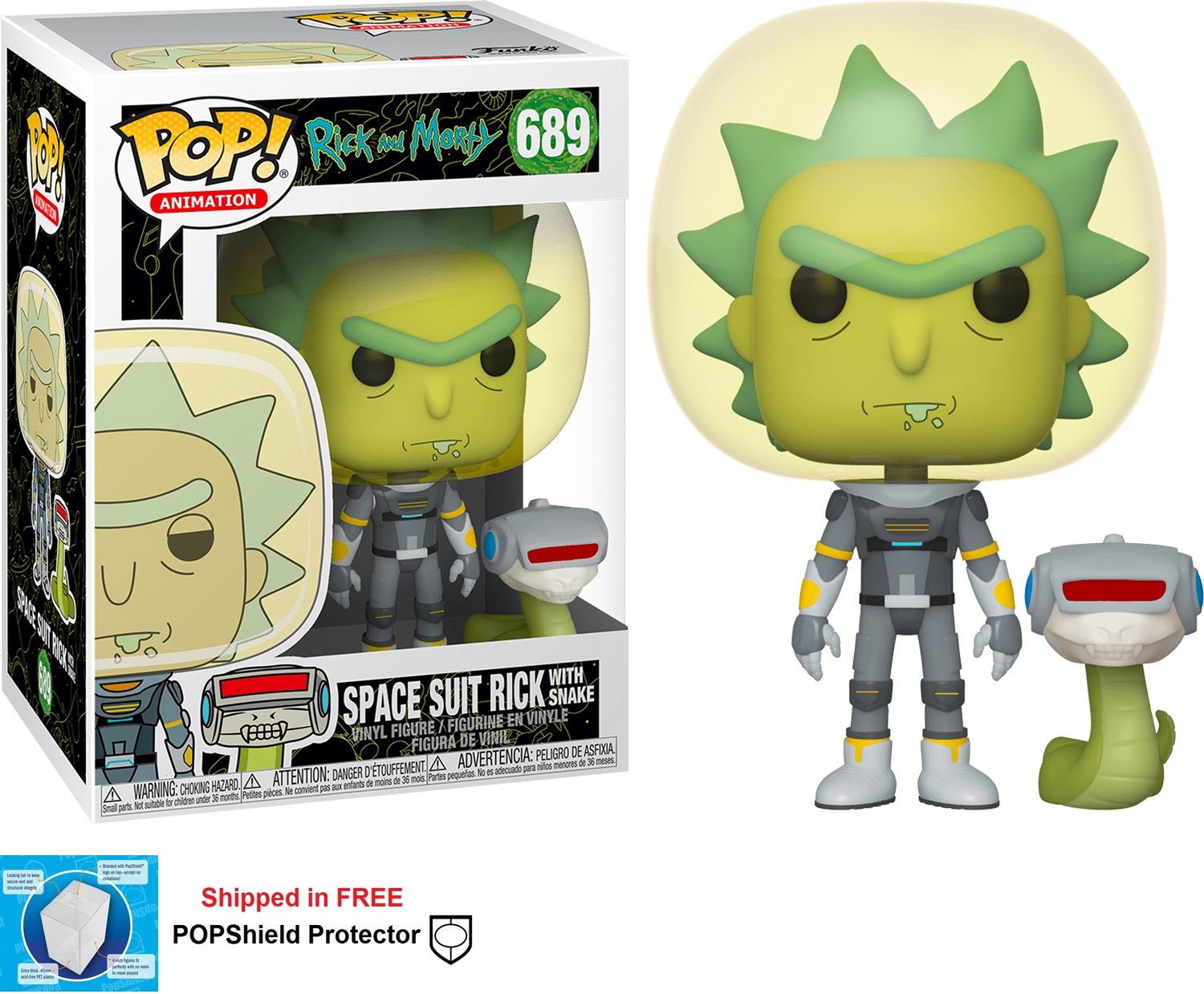 Funko POP Animation Rick and Morty Space Suit Rick w/Snake #689